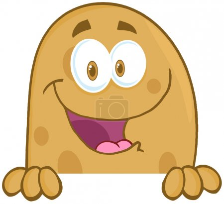 Photo for Happy Potato Cartoon Mascot Character Over A Sign - Royalty Free Image