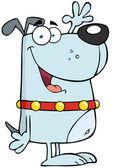 šedý pes kreslená postavička mává na pozdrav