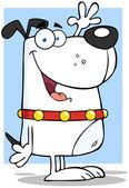 Bílý pes kreslená postava mává