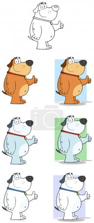 Dog Giving Thumbs up Mascot Characters- Collection