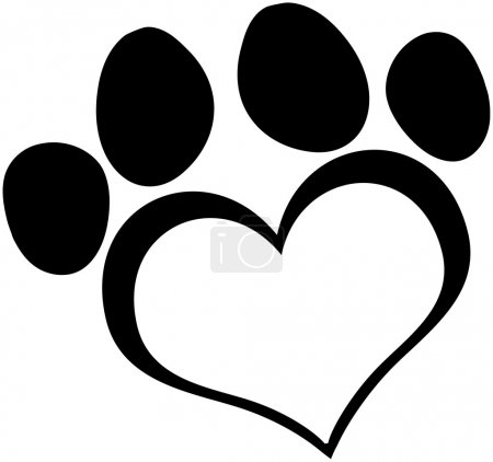 Black Love Paw Print Cartoon Character...