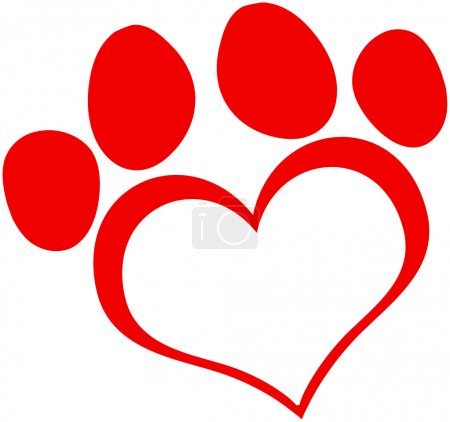 Photo for Red Love Paw Print Cartoon Character - Royalty Free Image