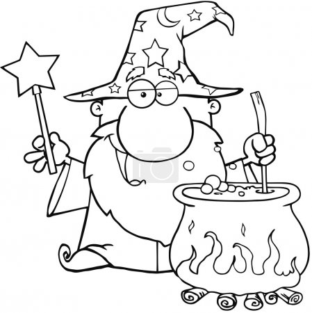 Outlined Wizard Waving With Magic Wand And Preparing A Potion