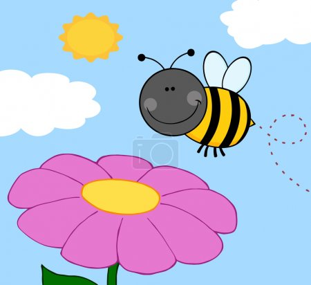 Smiling Bumble Bee Flying Over Flower