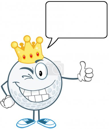 Winking Golf Ball Character With Gold Crown Holding A Thumb Up And Speech Bubble