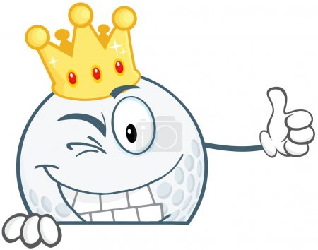 Winking Golf Ball Character With Gold Crown Holding A Thumb Up Over Sign