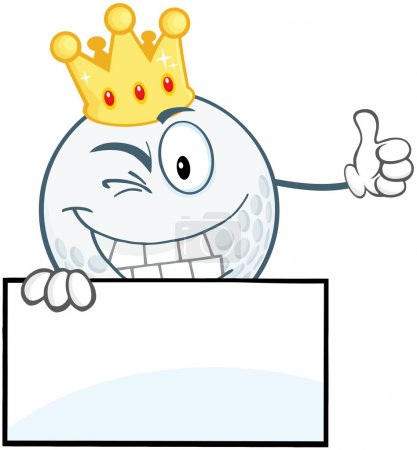 Winking Golf Ball With Gold Crown Holding A Thumb Up Over Sign