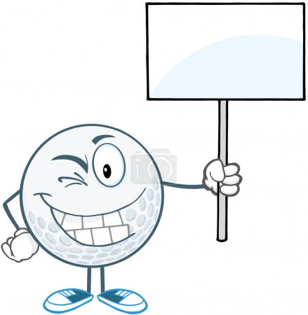 Winking Golf Ball Holding A Blank Sign