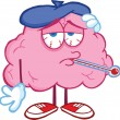 Sick Brain Cartoon Character With Thermometer...