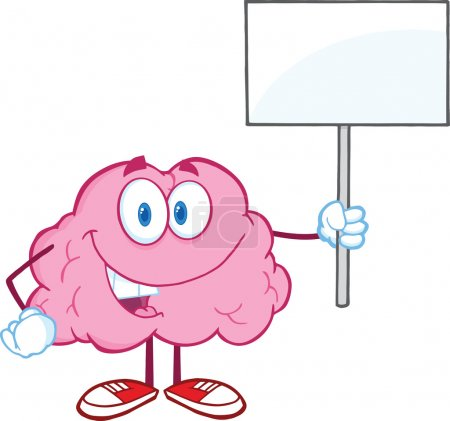 Brain Character Holding Up A Blank Sign