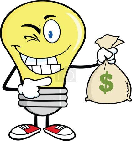 Light Bulb Cartoon Character Holding A Bag Of Money