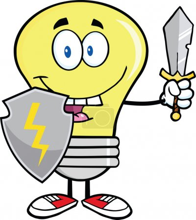 Light Bulb Guarder With Shield And Sword