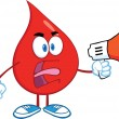 Angry Red Blood Drop Cartoon Character Screaming I...