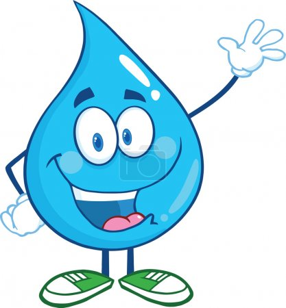 Photo for Water Drop Cartoon Mascot Character Waving For Greeting - Royalty Free Image