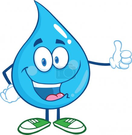 Photo for Happy Water Drop Cartoon Character Giving A Thumb Up - Royalty Free Image