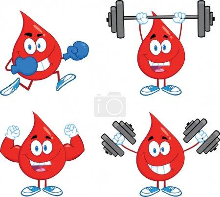 Blood Drop Cartoon Characters Set