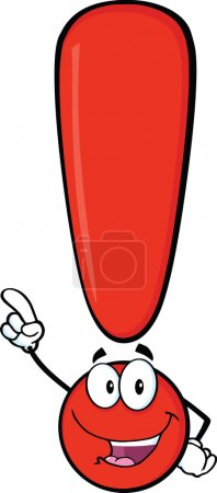 Red Exclamation Mark Character Pointing With Finger