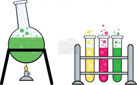 Photo for Pieces Of Equipment From A Chemistry Laboratory Cartoon Character - Royalty Free Image