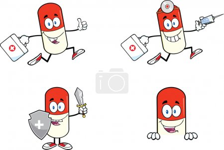 Pill Capsule Cartoon Characters Set Collection 3