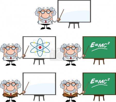 Photo for Funny Scientist Or Professor Cartoon Characters Set Collection 2 - Royalty Free Image