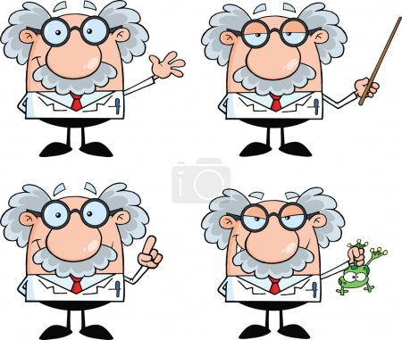 Photo for Funny Scientist Or Professor Cartoon Characters Set Collection 4 - Royalty Free Image