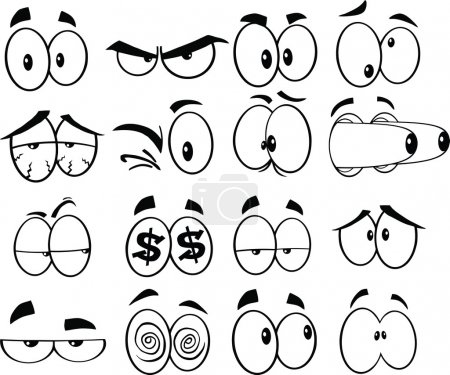 Black and White Cartoon Funny Eyes