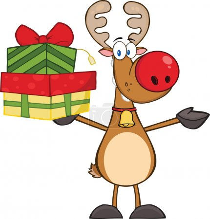 Reindeer Holding Up A Stack Of Gifts