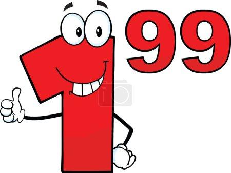 Photo pour Étiquette de prix Rouge Numéro 1 99 Caractère mascotte de bande dessinée donnant un pouce vers le haut - image libre de droit