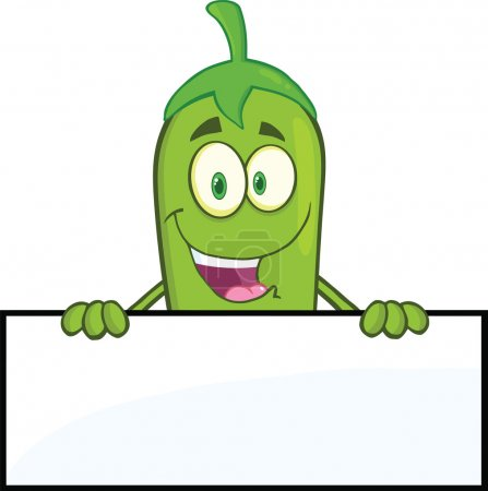 Smiling Green Chili Pepper Cartoon Character Over Blank Sign