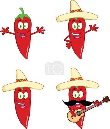 Photo pour Les piments rouges heureux dessin animé personnages 2 jeu de collection - image libre de droit
