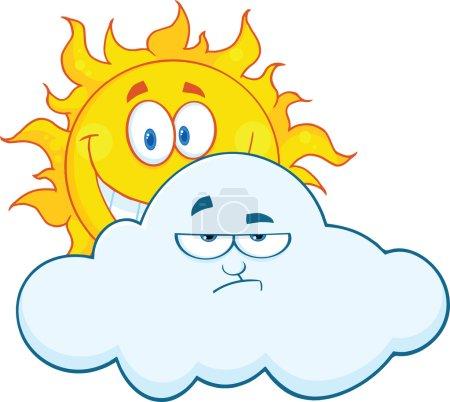 Photo pour Joyeux soleil souriant derrière une mascotte Nuage triste personnages de bande dessinée. Illustration Isolé sur blanc - image libre de droit