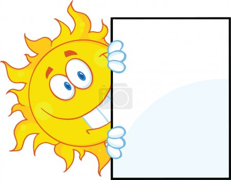 Smiling Sun Looking Around A Sign Cartoon Character
