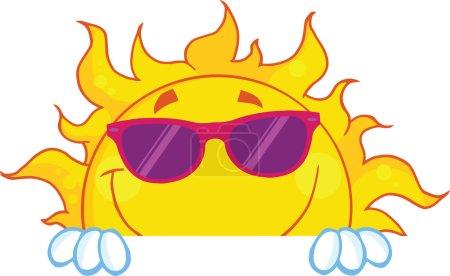 Photo pour Soleil souriant avec des lunettes de soleil sur un panneau. Illustration Isolé sur blanc - image libre de droit