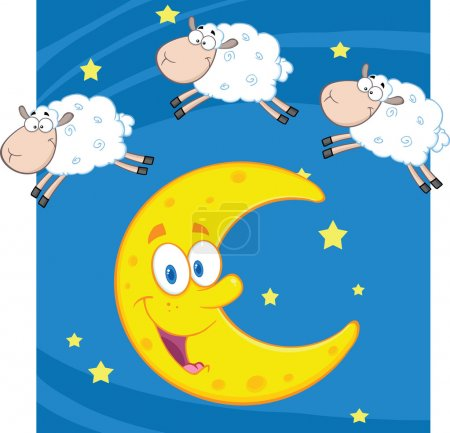 Three Funny Counting Sheep Over A Moon