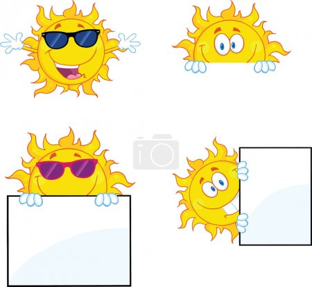Photo for Illustration Of Sun Cartoon Mascot Characters 2 Collection Set - Royalty Free Image