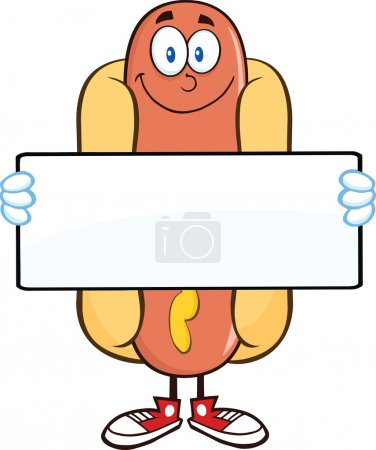 Smiling Hot Dog Cartoon Character Holding A Banner