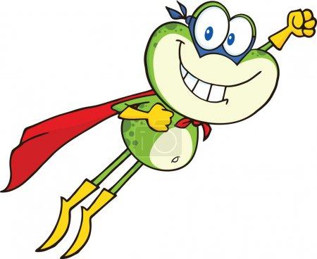 Photo pour Personnage de bande dessinée de super-héros grenouille battant illustration isolé sur blanc - image libre de droit