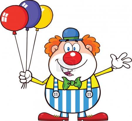 Photo pour Personnage drôle de bande dessinée de clown avec des ballons et agitant l'illustration isolé sur blanc - image libre de droit