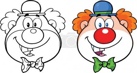 Photo pour Mascotte de Clown visage Cartoon Character Collection Set - image libre de droit