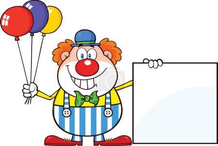 Photo pour Personnage de dessin animé drôle de clown avec des ballons montrant une illustration de signe vierge isolé sur blanc - image libre de droit