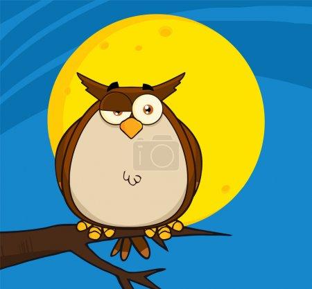 Photo pour Personnage de dessin animé hibou sur l'arbre dans la nuit - image libre de droit