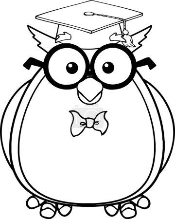 Photo pour Personnage de dessin animé de maître hibou sage noir et blanc avec des lunettes et illustration de diplômés cap isolé sur blanc - image libre de droit