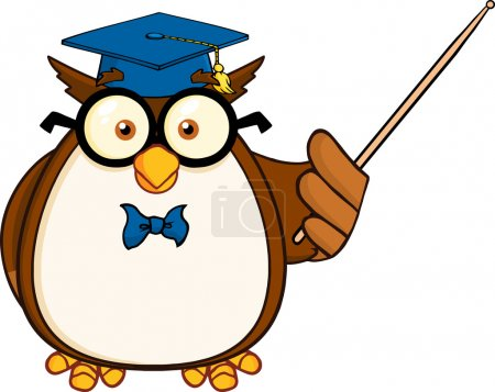 Wise Owl Teacher Cartoon Character With A Pointer