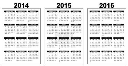 Illustration pour Illustration d'un calendrier de base aperçu 2014-2015-2016, vector image, noir et blanc, la semaine commençant le lundi - image libre de droit