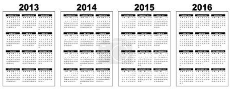 Illustration pour Illustration d'un calendrier de base aperçu 2013-2014-2015-2016, noir et blanc, image vestor, semaine commençant le dimanche - image libre de droit
