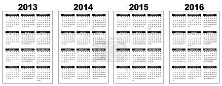 Illustration pour Illustration d'un calendrier de base aperçu 2013-2014-2015-2016, noir et blanc, image vestor, semaine commençant le lundi - image libre de droit