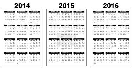 Basic calendar 2014-2016