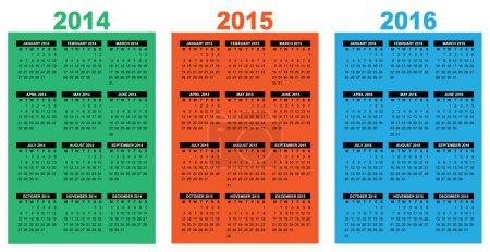 Illustration pour Illustration d'un calendrier aperçu 2014-2015-2016, l'image vectorielle, la semaine commençant le lundi - image libre de droit