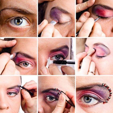 Photo pour Ensemble de plans macro de maquillage des yeux, chemin de coupure enregistré - image libre de droit