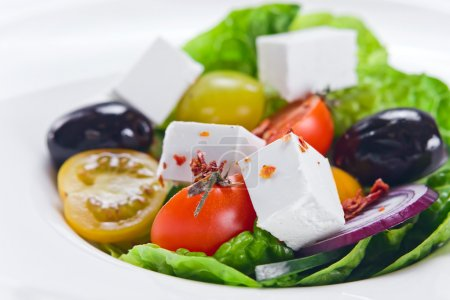 Photo for Greek salad with tomatoes cherry, close up - Royalty Free Image